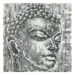 Safavieh - Buddha Black And White Painting ART2007A - Sophisticates seeking a stylish accent of calm should look no further than this black and white Buddha head on painted canvas on wood. Every two-dimentional stroke highlights each detail with aplomb.
