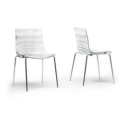 "Wholesale Interiors - Marisse Clear Plastic Modern Dining Chairs, Set of 2 - Calm waters. The tranquility of a secluded lake. The Marisse Chair embodies the best of an aquatic haven. This designer dining chair features Chinese-built construction of transparent clear polycarbonate plastic atop chrome-plated steel legs with non-marking feet. The seat features a ripple-effect bottom surface so the seat itself stays smooth for comfortable lounging. The Marisse Chair does not stack, requires assembly, and should be wiped clean with a damp cloth. A transparent blue option is also available (sold separately). Dimension: 18.87""W x 20.5""D x 31.5""H, seat dimension: 17.56""W x 16.25""D x 17.87""H."