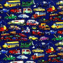 """SheetWorld - SheetWorld Round Crib Sheets - Vehicles Galore - Made in USA - This luxurious 100% cotton """"woven"""" round crib sheet features all different types of vehicles printed on a dark navy colored background. Our sheets are made of the highest quality fabric that's measured at a 280 tc. That means these sheets are soft and durable. Sheets are made with deep pockets and are elasticized around the entire edge which prevents it from slipping off the mattress, thereby keeping your baby safe. These sheets are so durable that they will last all through your baby's growing years. We're called SheetWorld because we produce the highest grade sheets on the market today."""
