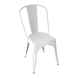 Kathy Kuo Home - Bouchon French Industrial White Cafe Side Chair - Set of 4 - This iconic industrial metal café chair, constructed of glossy white painted steel, defines the utility and flexible use that makes loft style seating so appealing.  Used indoors or out, the classic lines evoke a French accent and afternoons spent in sidewalk cafés from the Left Bank to the East River.