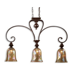 Uttermost - Uttermost 21051  Elba 4 Light Kitchen Island Light - Grand in scale, these pieces with curved arms banded with square shapes and accents, are made even more unique with the iridescent shimmer of crackle glass holding fat candles. spice finish