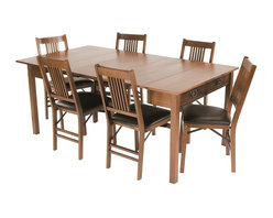Stakmore - Mission Style Expanding Dining Table in Warm - Dependable, do-it-all table is a great option in your dining area, and it also excels elsewhere as a console table. Completed with a fruitwood finish, the table is made with solid wood and veneers for lasting quality. It expands if needed and also has a single storage drawer. Chairs sold separately. Can be used as console and game table. Two additional leaves expands to dining table. Hidden fifth leg for extra support in the open dining position. Made from premium solid wood. Some assembly required. Expandable to 3 settings:. Console table: 40 in. W x 20 in. D x 29 in. H. Gaming/Dinette table: 40 in. L x 40 in. W x 29 in. H. Dining table: 72 in. L x 40 in. W x 29 in. H. Assembly InstructionsPracticality meets functionality with this expanding table. In its starting position this table is a mission style console or sofa table, by pulling out the back legs and flipping the hinged top it easily becomes a 40 by 49 inch game/dinette table. If more seating area is needed, simply extend the table further and add two leaves (included) and you get a 72 inch long dining table easily seating six people. With a warm fruitwood finish and clean line this piece of furniture will be the most versatile piece in your home.