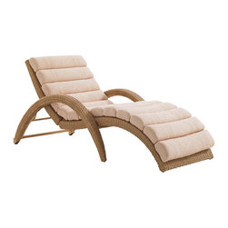 Frontgate - Aviano Outdoor Chaise Lounge, Patio Furniture - Inset casters on the back legs provide easy portability. Adjustable back has five recline settings. Hand-woven wicker has a natural seagrass hue. Fabrics feature tightly woven mold- and mildew-resistant fibers, solution-dyed to resist UV fading, with a durable finish for superior stain and water resistance. Plush WeatherGuard cushions feature: a 1.8 lb.-density inner core of high-resiliency foam that functions like a box spring; a layer of soft-cell foam for mattress-like comfort; a layer of naturally anti-microbial spun polyester fiber; and a layer of thermally sealed non-woven ticking to prevent water penetration. Donning the beautiful serpentine shape popular in mid-century modern styling, the Aviano Chaise Lounge offers a refreshingly simple design worthy of the finest spa destination. The plush, channeled cushion is supported by an all-weather wicker frame with five recline settings.  .  .  .  .  . High-density polyethylene wicker offers a high tensile strength, low maintenance and resistance to UV exposure, mildew, fading, staining, stretching and cracking . All-weather wicker is easy to clean with a mild solution of soap and water .