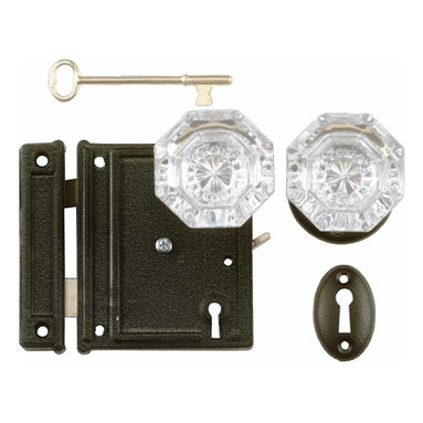 "Renovators Supply - Rim Locks Black Steel/Zinc Glass Knob 4 1/4""x 4"" Rim Lock 