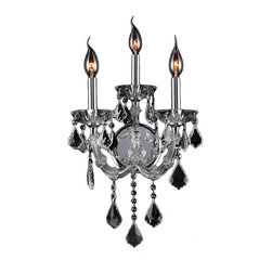 "Worldwide Lighting - Lyre 3 Light Chrome Finish and Clear Crystal 12"" W Candle Wall Sconce Light - This stunning 3-light wall sconce only uses the best quality material and workmanship ensuring a beautiful heirloom quality piece. Featuring a radiant chrome finish and finely cut premium grade clear crystals with a lead content of 30%, this elegant wall sconce will give any room sparkle and glamour. Worldwide Lighting Corporation is a privately owned manufacturer of high quality crystal chandeliers, pendants, surface mounts, sconces and custom decorative lighting products for the residential, hospitality and commercial building markets. Our high quality crystals meet all standards of perfection, possessing lead oxide of 30% that is above industry standards and can be seen in prestigious homes, hotels, restaurants, casinos, and churches across the country. Our mission is to enhance your lighting needs with exceptional quality fixtures at a reasonable price."