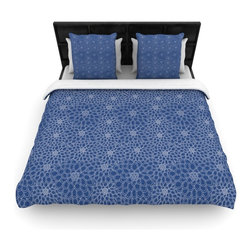 "Kess InHouse - Julia Grifol ""White Flowers on Blue"" Navy Blue Cotton Duvet Cover (Queen, 88"" x - Rest in comfort among this artistically inclined cotton blend duvet cover. This duvet cover is as light as a feather! You will be sure to be the envy of all of your guests with this aesthetically pleasing duvet. We highly recommend washing this as many times as you like as this material will not fade or lose comfort. Cotton blended, this duvet cover is not only beautiful and artistic but can be used year round with a duvet insert! Add our cotton shams to make your bed complete and looking stylish and artistic!"