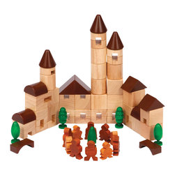 Guidecraft - Guidecraft City Blocks - Guidecraft - Wooden Play Sets - G6709 - With the 64 piece city block set young builders will love to explore the endless possibilities in urban construction and environmental design. Includes little people and trees to round out the landscape and to enhance creative play. Blocks have smooth sanded edges and are stained with low VOC aniline dies. Made of eco-friendly rubberwood a renewable resources. Helps build three-dimensional design and fine-motor skills. Includes handy canvas storage bag with drawstring. Ages 3+.