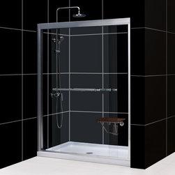"DreamLine - DreamLine SHDR-1260728-04 Duet Shower Door - DreamLine Duet 56 to 60"" Frameless Bypass Sliding Shower Door, Clear 5/16"" Glass Door, Brushed Nickel Finish"