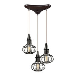 Elk Lighting - Elk Lighting Yardley Oil Rubbed Bronze Three-Light 10'' Wide Mini Chandelier - The Yardley collection features a turn of the century inspired cage design in Oil Rubbed Bronze. Optional filament bulbs will enhance its antique character. Elk Lighting headquartered in the United States is a premier designer and importer of indoor and outdoor residential designer and commercial lighting fixtures decorative accessories and furniture. An award winning team of international designers and engineers ensure that each product is created with uncompromising detail and unparalleled design.  The company founded in 1983 distributes over 5000 products under ELK Lighting Landmark Lighting Sterling Industries Baldinger Dimond Lighting Artistic Lighting HGTV Home Trump Home Historic Royal Palaces Biltmore Estates and Mary Kate and Ashley brands. Products are available at a network of lighting and furniture showrooms electrical wholesale distributors department stores and specialty home improvement companies throughout the world. Specifications Bulb Type: 60W Med. Finish: Oil Rubbed Bronze.