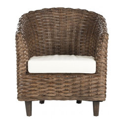 Safavieh - Omni Barrel Chair - It�s a wrap. Surround yourself with the comfort and transitional style of the woven rattan Omni Barrel Chair. Crafted with mango wood and rattan in a brown glaze finish with upholstered poly-cotton seat cushion, it�s the perfect place to dream the day away with a good book.