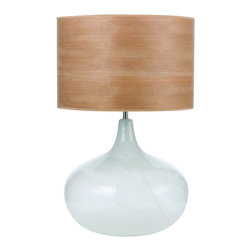 AF Lighting - Modern Frosted Glass Table Lamp & Wood Shade - A unique and exclusive introduction from the Deborah Benz collection, this modern table lamp is crafted from hand blown white frosted glass with a natural cloud like appearance.  What really adds to this designer table lamp is the wood veneer drum lamp shade which really brings out the contrasts and natural feel.  With nature themed home d�cor in mind, this fashionable swirl glass table lamp will draw attention to your living room or bedroom lighting.  Features. - Designed by Deborah Benz