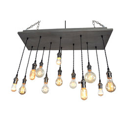 "Industrial Lightworks - Urban Lighting - Custom Design - With Frame In Slate Grey - The canopy is made from a solid piece of wood finished in slate grey with a 2"" recessed wood frame for a nice finished look. The 12 pendant Edison bulb sockets are black nickel with a twisted black cord."