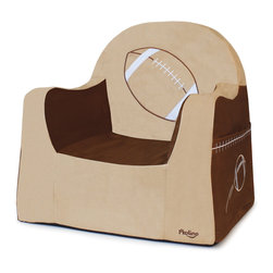 P'kolino - Playful Embroidery Little Reader,  Football - Make story time or TV viewing special with this adorable toddler's chair. Constructed of high-density foam and covered with soft, stain-resistant microsuede, this perch includes side pockets for books and a built-in handle for easy toting. The chair features a wide base for extra stability, and is recommended for ages 2 to 4.