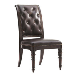 Lexington - Lexington Island Traditions Hastings Upholstered Side Chair Set of 2 548-882-01 - The button-tufted inside back is complimented by a saddle stitched outside back with decorative nailhead trim. The carved tapered post designs of the legs compliment the chair's classic design. Available only as shown in Richmond 151541, a rich oxford brown leather with natural range markings.