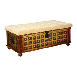 Sierra Living Concepts - Wood Brass & Upholstered Lift Top Storage Coffee Table Bedroom Trunk - Celebrate elegance and extra storage space with our traditional hand crafted Coffee Table Chest. This multi-use storage box can be used as a bedroom trunk, living room coffee table, or footstool.