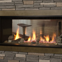 L1 Linear Series 2-Sided Fireplace - 1600I L1 2-Sided Series with ValorGuard Barrier Screen & Bronze Surround