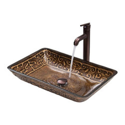 Vigo Industries - 14.5 in. Rectangular Vessel Sink and Faucet Set - Greek glass vessel sink and faucet set will become a bold focal point in your bathroom.