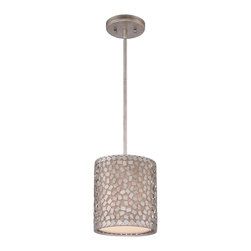 Quoizel - Quoizel CKCF1508OS Confetti Mini Pendant Light - This collection features confettilike metal chips encompassing an inner offwhite linen shade.  The old silver finish and frosted diffuser completes the design of this funkychic series.  Confetti equals fun.
