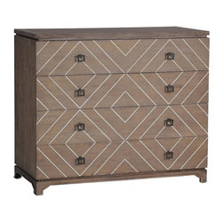 Gabby - Gabby Terrance Transitional Chest - Materials: Oak with bone inlaid creating geometric patternFinish: Natural Oak & White BoneOur Terrance Transitional Chest is the perfect example of transitional style. We took a postmodern, modular-style dresser made of oak, and added a bone inlay to create a unique geometric pattern that catches the eye.
