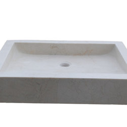 Rectangular Angled Flow Natural Stone Vessel Sink, Beige Marble - The Angled Flow Rectangular Vessel Sink is made from one solid piece of natural stone.  The inside of the sink is angled towards the back so water will flow towards the drain.  This sink is a popular choice for your home or restaurant project.  This sink is available in light travertine, noce and beige marble. The sink pictured is beige marble.