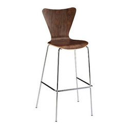 """LexMod - Ernie Bar Stool in Walnut - Ernie Bar Stool in Walnut - Minimalist in nature though it may be, this seat doesn't skimp on comfort. Its seemingly rigid design, flexes to the contours of the human body, making it a great side chair for homes and businesses alike. Set Includes: One - Ernie Chair Solid Plywood Seat, Chrome Legs Overall Product Dimensions: 19""""L x 21""""W x 45.5""""H Seat Height: 31""""H - Mid Century Modern Furniture."""