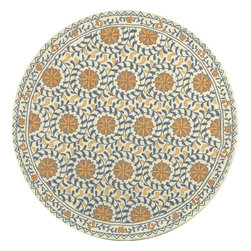 Safavieh - Country & Floral Chelsea Round 8' Round Ivory - Blue Area Rug - The Chelsea area rug Collection offers an affordable assortment of Country & Floral stylings. Chelsea features a blend of natural Ivory - Blue color. Hand Hooked of Wool the Chelsea Collection is an intriguing compliment to any decor.