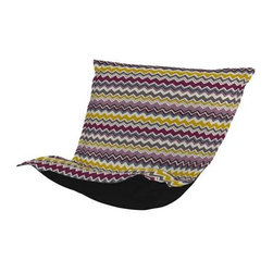 Howard Elliott Bolt Eggplant Puff Chair Cushion - Extra Puff Cushions in Bolt are a great way to get a fresh new look without the expense of buying a whole new chair! Puff Cushions fit Scroll and Rocker frames. This Bolt cushion is an electric charge of vivid color and zig zag lines.