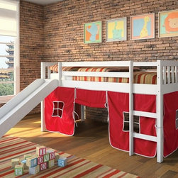 "Acme - Wasila Collection White Finish Wood Kids Loft Bed with Slide - Wasila collection white finish wood kids loft bed with slide and red or blue tent covering bottom curtains. This set includes the loft bed set with slide and your choice of Blue or red Tent curtain covering. Made in Brazil. Measures 78"" x 43"" x 43""H. Some assembly required."