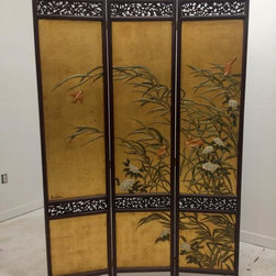 Antiques Moderne for Mid Century Consignments - Estate - signed LUCIEN LEINFELDER - 60's gilt and lacquered Asian style screen in excellent condition. Highly reticulated - back side lacquered off green - $495