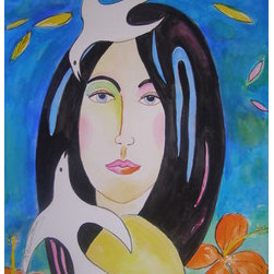 """""""Woman With Dove'S & Flower'S"""" (Original) By Suzzanne Bennett - First In The Series """"Woman, Bird'S & Flower'S', This Is A Colorful Piece, Perfect For Any Room. My Intention In These Works Is To Exude Color And Joy With A Touch Of Whimsy."""