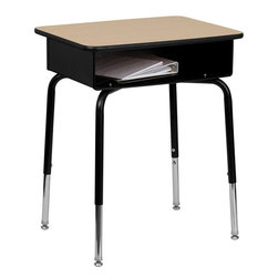 Flash Furniture - Student Desk with Open Front Metal Book Box - This open front desk is perfect to the classroom that is adjustable in height to fit children of all sizes. The spacious desktop allows students ample space for books, paper and other peripheral. The one of a kind criss-cross frame will ensure stability. In this student desk you are provided with durable construction as well as an incredible price!