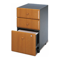 Bush Business - File Cabinet w Beveled Drawers - Series A - You won't lose employee time for construction as these file cabinets arrive fully assembled!  Beveled drawer fronts with blended pulls add style to workstations, open spaces, and executive offices.  They're castered for easy mobility across any surface and can slide under a desk.  Bring a professional appeal to your home office with this versatile and attractive three drawer cabinet, featuring a lower filing unit.  Beveled drawer fronts lend a rich appearance to this office cabinet. Dimensions:28.11 H x 15.709 W x 20.276 D in. . Rolls under any Series C desk shell. File drawer holds letter- or legal-size files. Fully finished drawer interiors. Fully assembled case goods. File drawer extends on full extension, ball-bearing slides. One lock secures bottom two drawers. File drawer holds letter or legal-size files. Casters for easy mobility when loaded. Fits under 36 in., 48 in., 60 in. and 72 in. Desks. 15.512 in. W x 20.276 in. D x 28.150 in. H