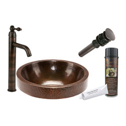"Premier Copper Products - Premier Copper Products BSP1_VR17SKDB 17"" Skirted Vessel Copper Sink Package - Premier Copper Products BSP1_VR17SKDB 17"" Skirted Vessel Copper Sink Package"