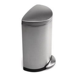 Semi-Round Step Trash Can, Fingerprint-Proof Brushed Stainless Steel - This is the next trash can I'd invest in. As a big fan of Simple Human products, I love this half-circle one that is space saving and can fit against any wall or kitchen island/counter.