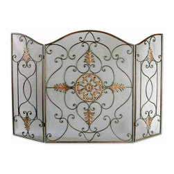 Uttermost - Brown Attractive By Unique Fireplace Screen Made Wrought Iron Home Decor - Brown attractive and inspired by unique style fireplace screen is made of wrought iron home accent decor