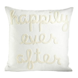 Alexandra Ferguson - Alexandra Ferguson Happily Ever After Pillow-Cream/Antique White - The felt that I use is made from 100 percent post consumer recycled water bottles. So, you drink water, throw the empty bottle in the recycling bin. Then they are melted down and turned them into this beautiful, really high quality soft felt that I then use to make pillows.All pillows have a nylon zipper closure, with the alexandra ferguson logo embroidered on the center back bottom.