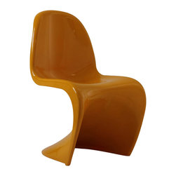 LexMod - Verner Panton Style Chair in Yellow - Sleek and sturdy, rock back and forth in comfort with this injection molded marvel. Constructed from a single piece of strong ABS plastic, the s shaped Verner Panton Style Chair can be found in many fashionable settings. Perfect for dining areas in need of a little zest, the design is versatile, fun and lively. Surprisingly cushy, choose from a selection of vibrant colors that wont fade over time. The Panton Chair is also perfect for spaces short on room.