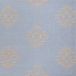 Jaipur Rugs - Flat-Weave Tribal Pattern Wool Blue/Gray Area Rug (5 x 8) - An array of simple flat weave designs in 100% wool - from simple modern geometrics to stripes and Ikats. Colors look modern and fresh and very contemporary.