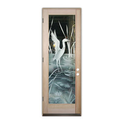Sans Soucie Art Glass (door frame material T.M. Cobb) - Glass Front Entry Door Sans Soucie Art Glass Crane II 2D - Sans Soucie Art Glass Front Door with Sandblast Etched Glass Design. Get the privacy you need without blocking light, thru beautiful works of etched glass art by Sans Soucie!This glass is semi-private. Door material will be unfinished, ready for paint or stain.Bronze Sill, Sweep and Hinges. Available in other finishes, sizes, swing directions and door materials.Dual Pane Tempered Safety Glass.Cleaning is the same as regular clear glass. Use glass cleaner and a soft cloth.