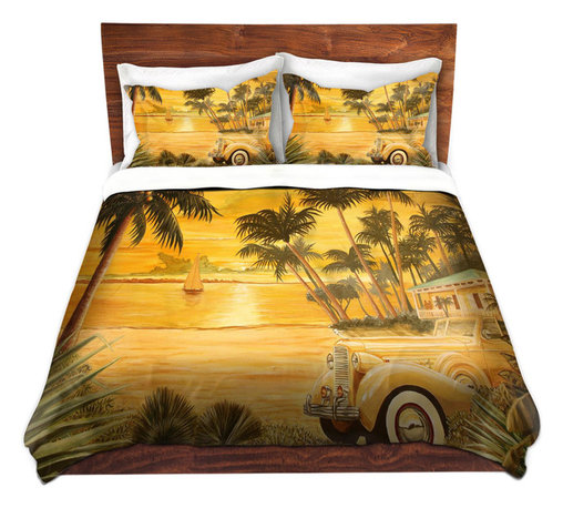 DiaNoche Designs - Duvet Cover Microfiber by Mark Watts - Tropical Getaway - Super lightweight and extremely soft Premium Microfiber Duvet Cover in sizes Twin, Queen, King.  This duvet is designed to wash upon arrival for maximum softness.   Each duvet starts by looming the fabric and cutting to the size ordered.  The Image is printed and your Duvet Cover is meticulously sewn together with ties in each corner and a hidden zip closure.  All in the USA!!  Poly top with a Cotton Poly underside.  Dye Sublimation printing permanently adheres the ink to the material for long life and durability. Printed top, cream colored bottom, Machine Washable, Product may vary slightly from image.