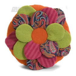 iMax - iMax 42050 Estelle Multi Fabric Flower Pillow - Brightly colored, Flower shaped pillow, multi-fabric,