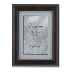 Lawrence Frames - 8x10 Walnut Wood With Domed Profile - Elegant walnut brown domed wood picture frame.  Inner and outer edges are painted black which gives this frame a very tailored look.  High quality black velvet backing with an easel for vertical or horizontal table top display, and hangers for vertical or horizontal wall mounting.    Hand finished 8x10 wood picture frame is made with exceptional workmanship and comes individually boxed.