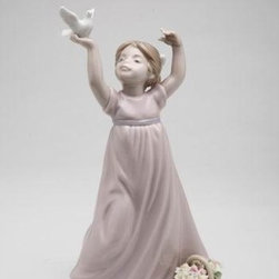 CG - Girl in Long Purple Dress Holding a White Dove Next to Basket Figurine - This gorgeous Girl in Long Purple Dress Holding a White Dove Next to Basket Figurine has the finest details and highest quality you will find anywhere! Girl in Long Purple Dress Holding a White Dove Next to Basket Figurine is truly remarkable.