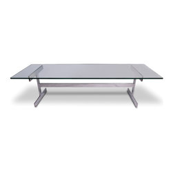 Chrome and Glass I-Bar Cocktail Table - base: 15-5 h x 46-5 l x 16 w, glass top: 60 l x 20 w x -5 thick