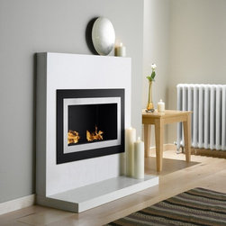 Villa Recessed Bio - Ethanol Fireplace - The Villa Recessed Bio - Ethanol Fireplace features 2 burners within a black glass outer frame and a stainless steel inner frame. It's also available with optional safety glass. This fireplace can be recessed into the wall or hung directly on it - making it perfect for any room.