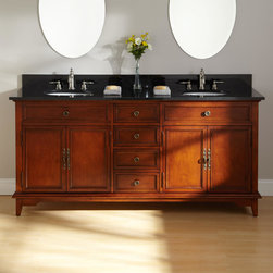 """72"""" Montgomery Double Vanity for Undermount Sinks - A stone countertop adds to the beauty of the 72"""" Montgomery Double Sink Vanity, which features four drawers and two distinct cabinets for storage."""