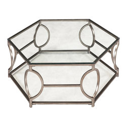 Magnussen - Magnussen Nevelson Cocktail Table in Antique Silver - Magnussen - Coffee Tables - T206048XKIT - Step up your living room�s decor setting with this hexagonal cocktail table from the Nevelson collection. Its attractive design includes curved silver corners and an angle cut beveled glass. Antique silver finish lends a charming vintage feel. The table comes with a metal frame and square metal tubing base that keep it sturdy. This cocktail table is a perfect fit for all modern homes.