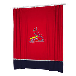Sports Coverage - MLB St. Louis Cardinals Baseball Accent Shower Curtain - Features: