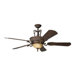 "Kichler - 60"" Kimberley 60"" Ceiling Fan Berkshire Bronze - Kichler 60"" Kimberley Model KL-300008BKZ in Berkshire Bronze with Stained to Cherry Finished Blades."