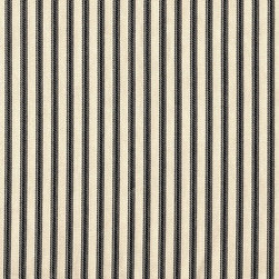 "Close to Custom Linens - 90"" Tablecloth Round Ticking Stripe with Toile Topper Black - A charming traditional ticking stripe in black on a cream background. 90"" round cotton tablecloth."